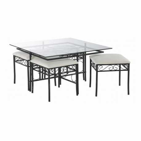 Conjunto mesa + 4 poufs Denver