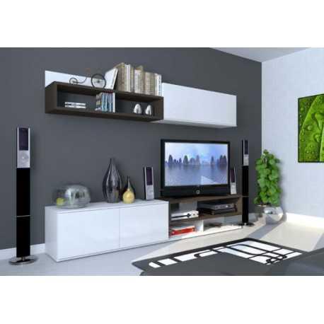 Conjunto Mueble de Salón| Compacto Bika|Color Woodline Cafe + Blanco Satinado